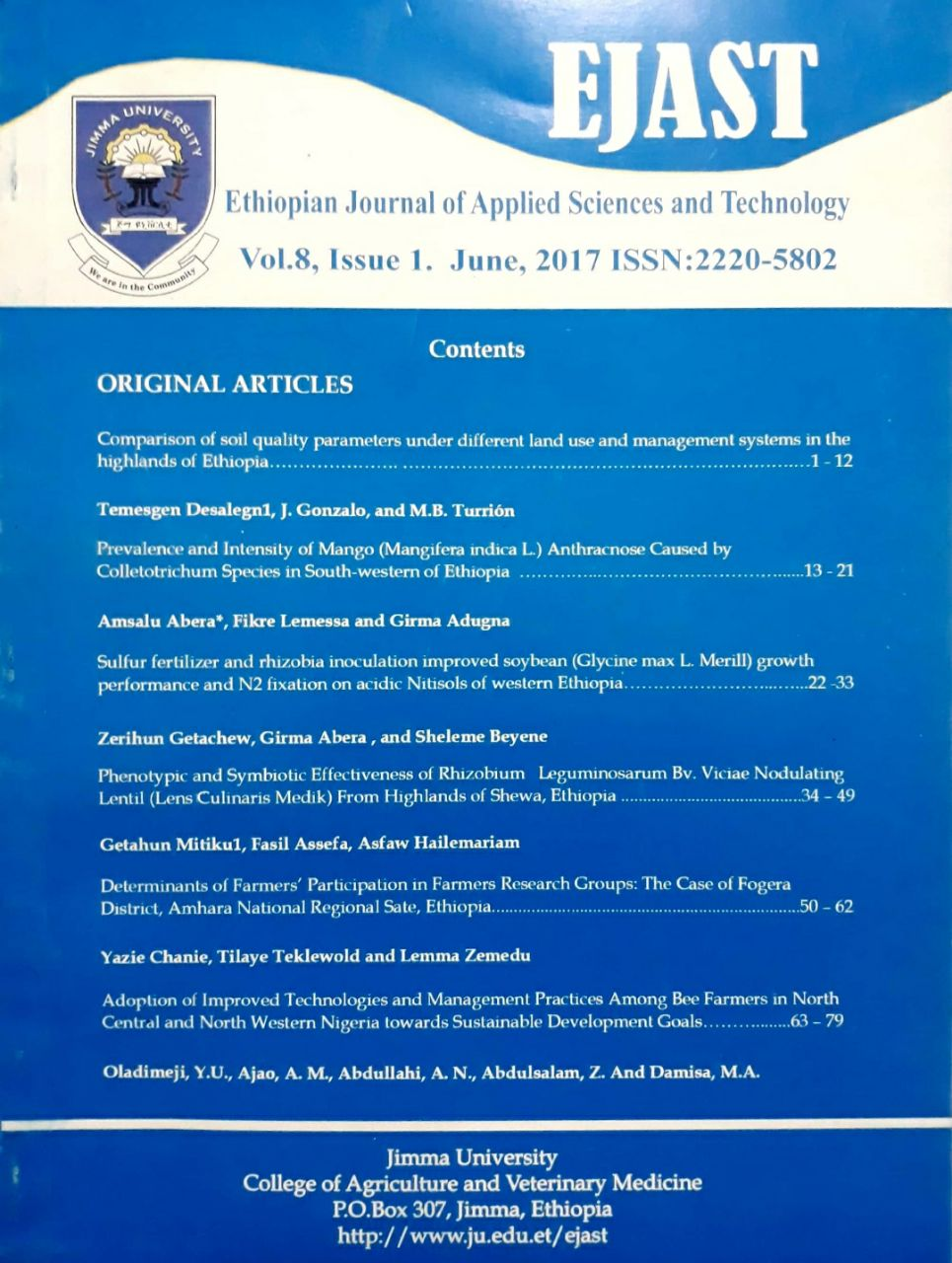 Ethiopian Journal Applied Sciences and Technology