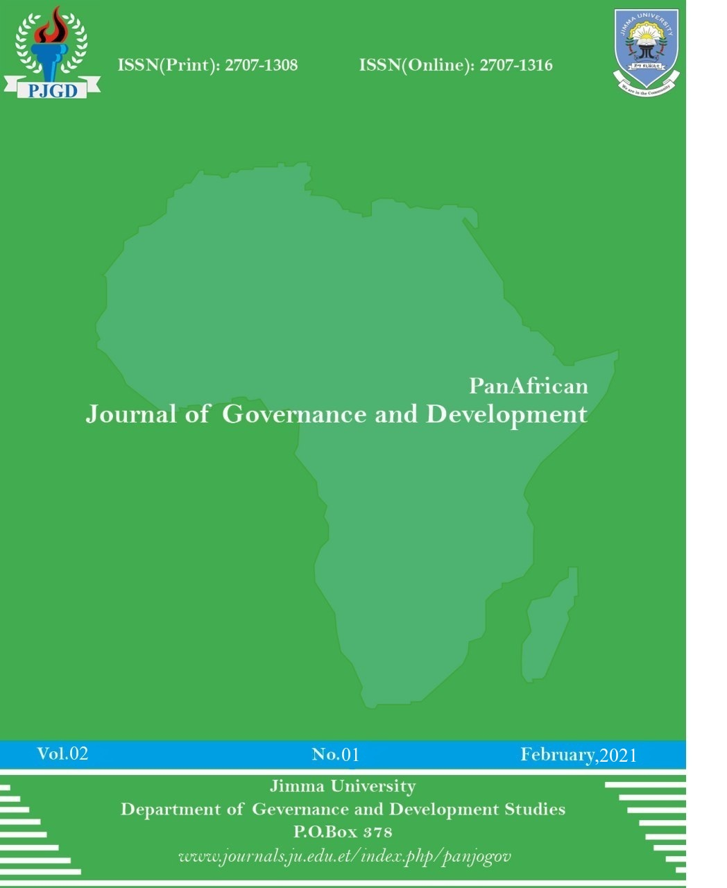 PanAfrican Journal of Governance and Development (PJGD) - Cover Page